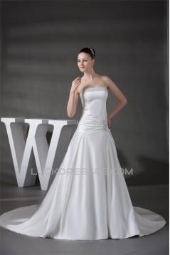 A-Line Sleeveless Strapless Satin Beaded Wedding Dresses 2030178