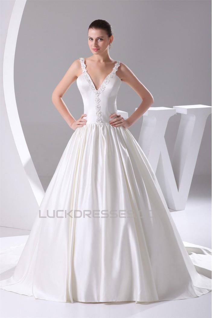 Hot Sale Sleeveless Satin Ball Gown V-Neck Beaded Wedding Dresses 2030179