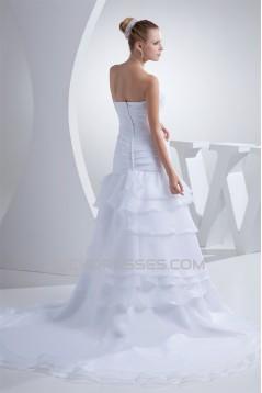A-Line Chapel Train Strapless Wedding Dresses 2030181