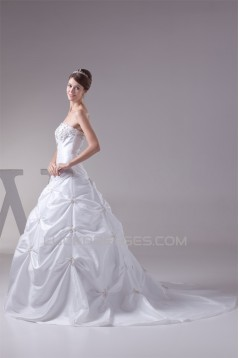 Hot Sale Taffeta A-Line Square Sleeveless Beaded Wedding Dresses 2030182