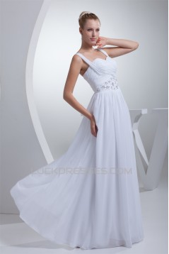 A-Line Sweetheart Illusion Sleeves Chiffon Beaded Wedding Dresses 2030183