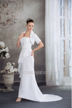 Trumpet/Mermaid Taffeta Lace Strapless Beaded Wedding Dresses 2030185