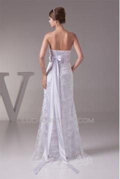 Lace Silk like Satin Sheath/Column Sleeveless Wedding Dresses 2030186