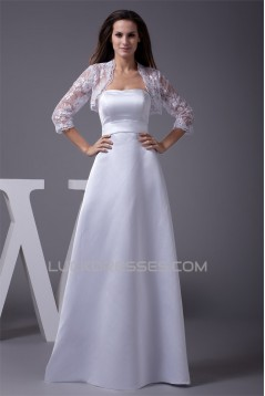 A-Line Strapless Lace Satin Wedding Dresses 2030187