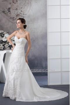 A-Line Sleeveless Sweetheart Lace Taffeta Wedding Dresses 2030188