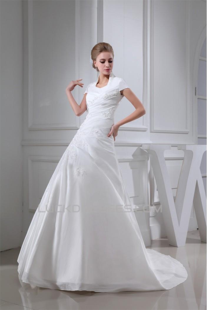 A-Line Square Lace Taffeta Short Sleeve New Arrival Wedding Dresses 2030189