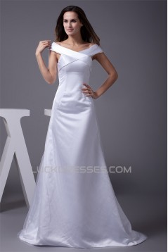 Latest Design A-Line Satin Fine Netting Wedding Dresses 2030191
