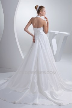 A-Line Taffeta Beaded Halter Wedding Dresses 2030193
