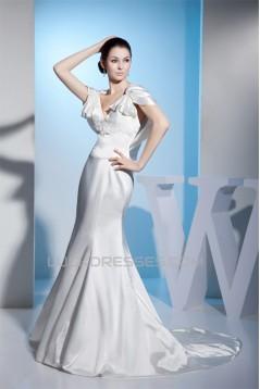 Trumpet/Mermaid Silk like Satin V-Neck Sweet Wedding Dresses 2030196