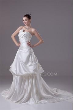 A-Line Sleeveless Satin Strapless Wedding Dresses 2030197