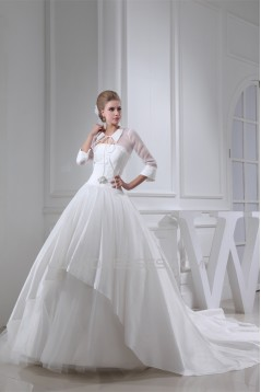 Ball Gown Long Sleeve High-Neck Chapel Train Wedding Dresses 2030200