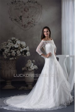 A-Line Long Sleeve Square Satin Lace Fine Netting Wedding Dresses 2030201