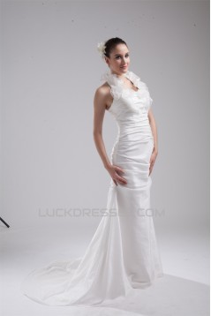 Mermaid/Trumpet Halter Taffeta Wedding Dresses 2030202