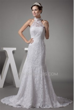 Mermaid/Trumpet Satin Beaded Lace Fine Netting Wedding Dresses 2030203