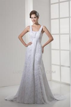 Mermaid/Trumpet Satin Lace Straps Sleeveless New Arrival Wedding Dresses 2030204
