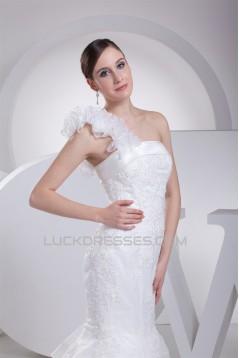 Mermaid/Trumpet Satin Organza One-Shoulder Lace Wedding Dresses 2030205