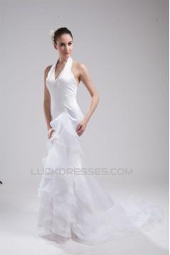 Mermaid/Trumpet Sleeveless Halter Satin Organza Wedding Dresses 2030207