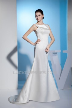 Mermaid/Trumpet Sleeveless Satin Straps Wedding Dresses 2030209