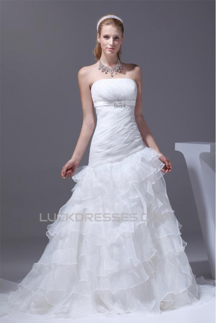 Mermaid/Trumpet Sleeveless Strapless Satin Organza Wedding Dresses 2030210