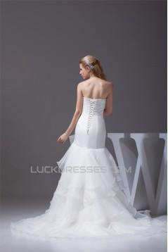 Mermaid/Trumpet Sleeveless Strapless Satin Organza Wedding Dresses 2030211