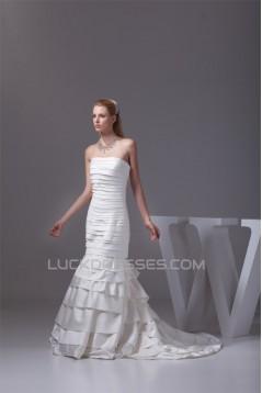 Mermaid/Trumpet Strapless Satin Sleeveless Wedding Dresses 2030213