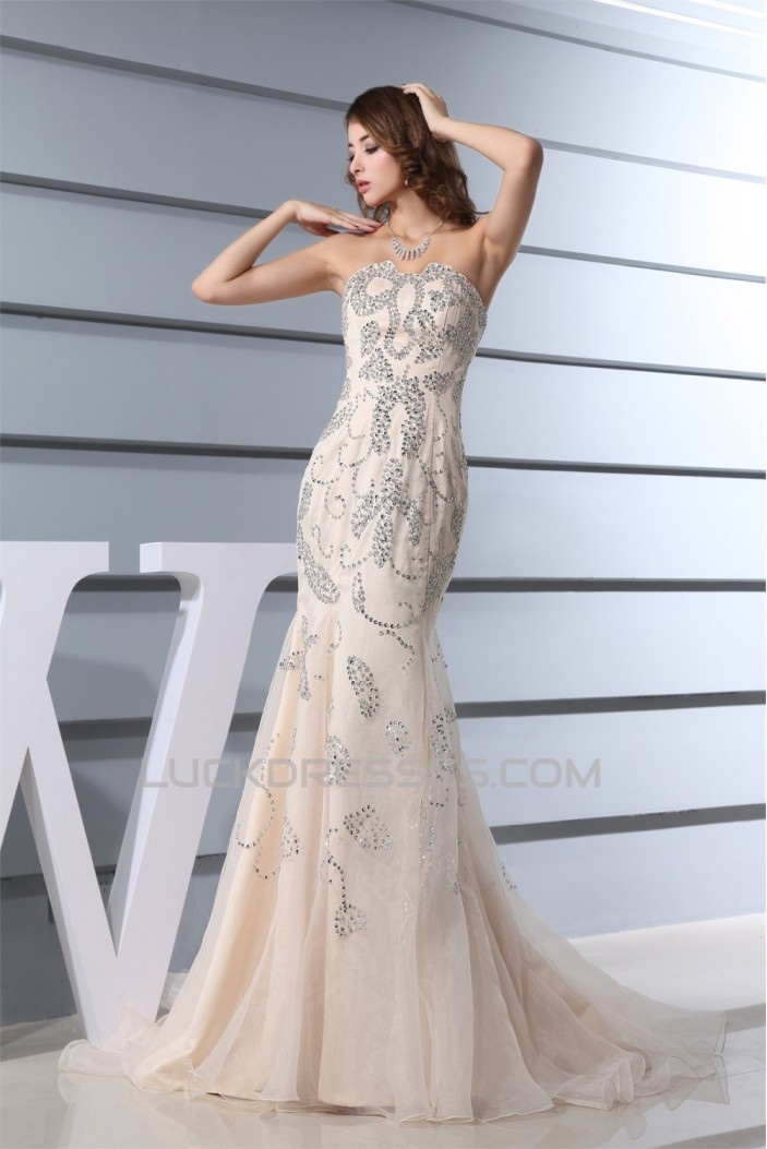 Mermaid/Trumpet Strapless Sleeveless Beaded Sequins Satin Organza Wedding Dresses 2030215