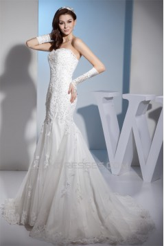 Mermaid/Trumpet Sweetheart Sleeveless Satin Lace Wedding Dresses 2030217