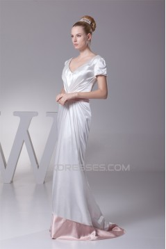 Sheath/Column V-Neck Short Sleeve Sweet Wedding Dresses 2030219