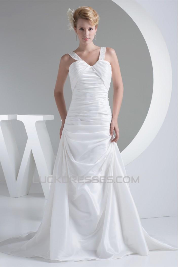 A-Line V-Neck Beaded Taffeta Sleeveless New Arrival Wedding Dresses 2030220