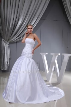 A-Line Sleeveless Square Satin Wedding Dresses 2030221