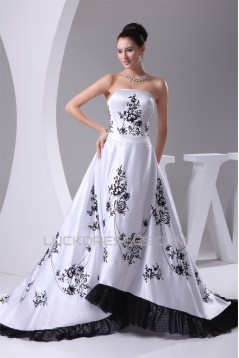 A-Line Satin Sweet Sleeveless Strapless Wedding Dresses 2030222