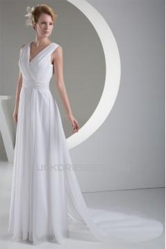 New Design A-Line Chiffon V-Neck Sleeveless Beaded Wedding Dresses 2030225