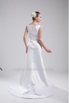 New Design V-Neck Sleeveless Sheath/Column Satin Sweet Wedding Dresses 2030226