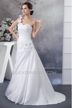 A-Line One-Shoulder Satin Sleeveless Sweetheart Wedding Dresses 2030227