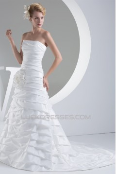 A-Line Strapless Taffeta Sleeveless Wedding Dresses 2030228
