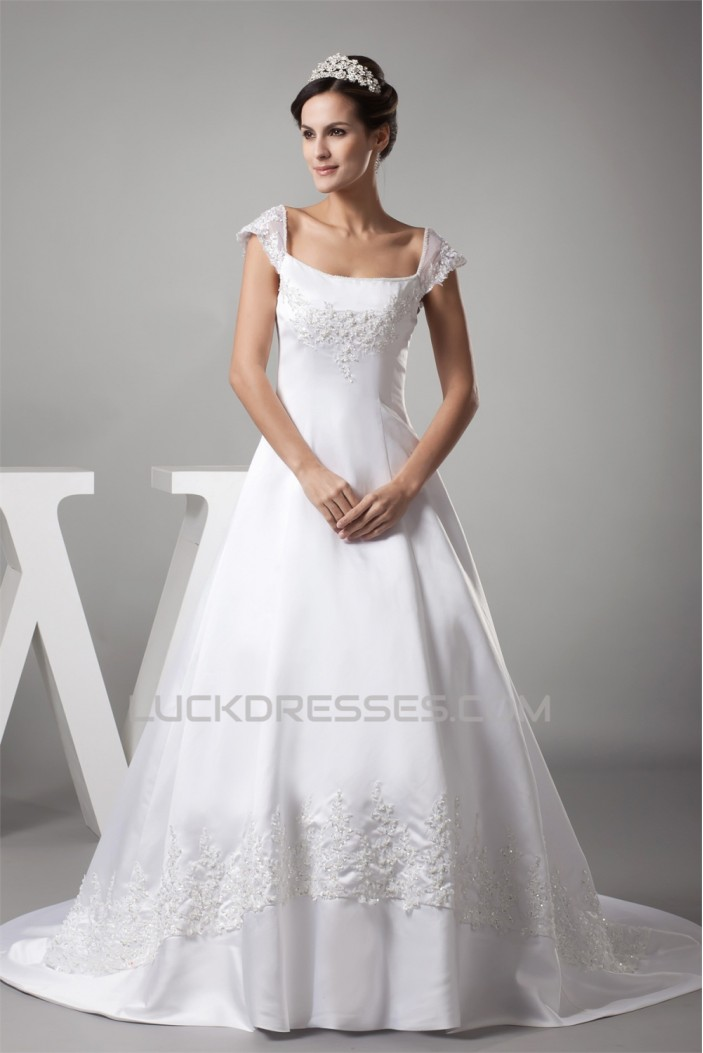 A-Line Cap Sleeve Beaded Lace Sweet Wedding Dresses 2030229