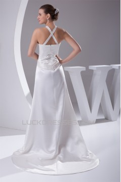New Style Halter A-Line Sleeveless Satin New Arrival Wedding Dresses 2030230