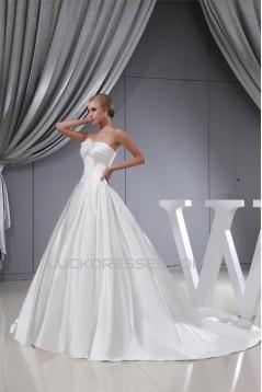 A-Line Sleeveless Strapless Satin Wedding Dresses 2030232