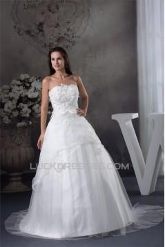 A-Line Satin Organza Scoop Sleeveless Lace Sweet Wedding Dresses 2030234
