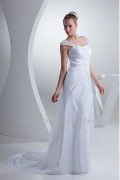 A-Line Beaded Square Organza Taffeta Wedding Dresses 2030235