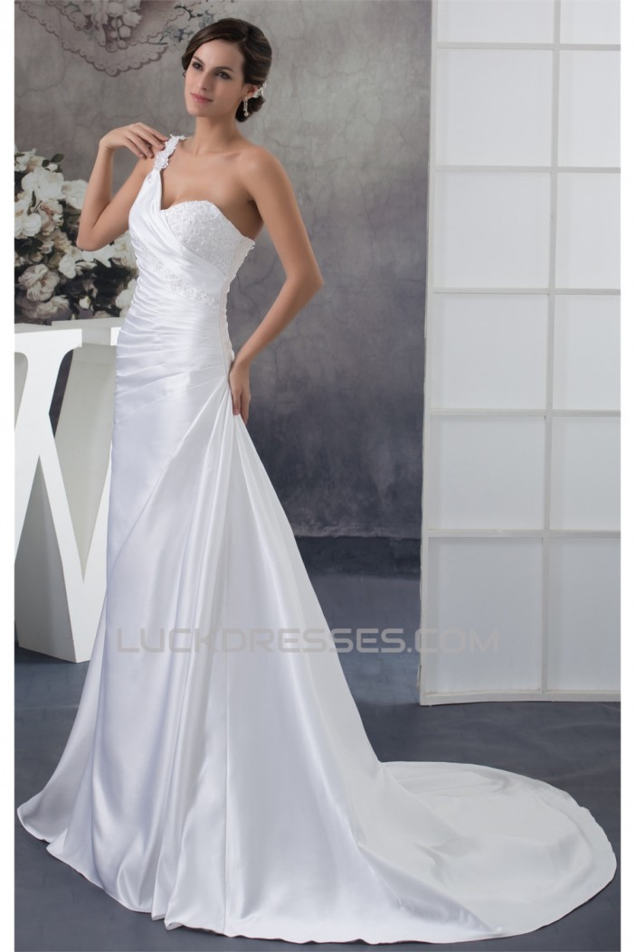 A-Line Satin Lace Sleeveless New Arrival One-Shoulder Wedding Dresses 2030237