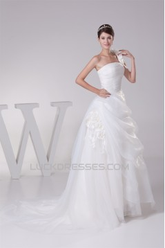 Ball Gown One-Shoulder Sleeveless Sweet Wedding Dresses 2030238