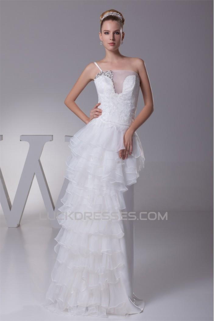 Sheath/Column One-Shoulder Lace Organza Wedding Dresses 2030241