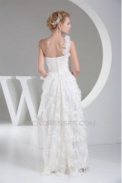 Sheath/Column One-Shoulder Lace Organza Wedding Dresses 2030242