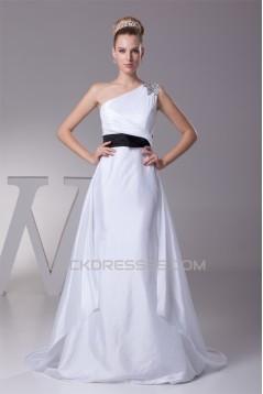 One-Shoulder Sheath/Column Satin Taffeta Reception Wedding Dresses 2030243
