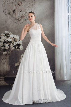 A-Line One-Shoulder Sleeveless Lace Wedding Dresses 2030246