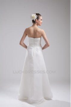 A-Line Organza Elastic Woven Satin Sleeveless Sweet Wedding Dresses 2030247