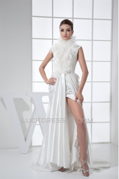 Organza Elastic Woven Satin Sleeveless High-Neck Wedding Dresses 2030248