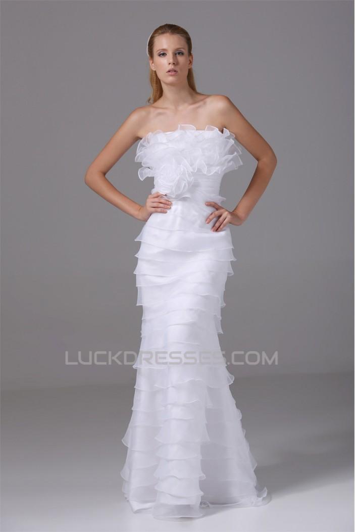Sheath/Column Organza Silk like Satin Strapless Wedding Dresses 2030249