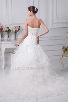 Princess Satin Lace Strapless Sleeveless New Arrival Wedding Dresses 2030251